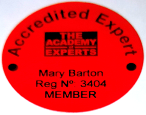 Mary Barton – Accredited Expert member of the Academy of Experts