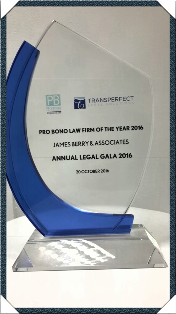 Member of the James Berry & Associates' Pro Bono Team which was voted the DIFC Courts' Pro Bono Law Firm of the Year 2016